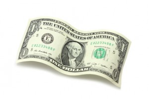 One American dollar on a white background